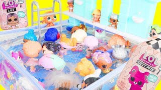 LOL Surprise Dolls Mix Pool Party with Lil Sister Fuzzy Pets | Toy Egg Videos