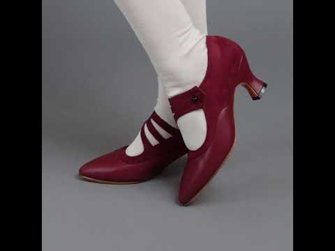 PRE-ORDER Mae Edwardian Shoes (Red)(1900-1925)