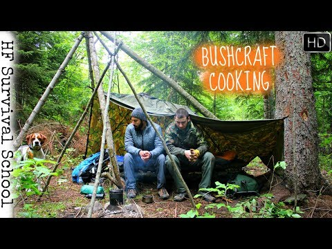 Overnight In The Shelter - Guest From Canada - Cooking Meat , Bushcraft , Survival - HD Video