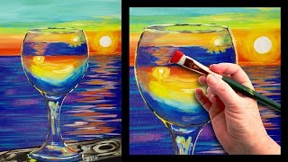 Sunset reflected in a glass easy beginner painting tutorial 🍷🌆 | Kholo.pk