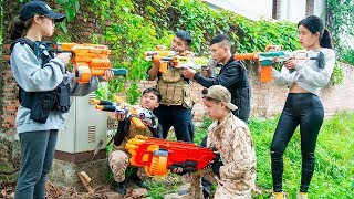 Nerf War: Special Force SWAT Nerf Guns Warrior Girl & Captain Soldiers Rescue Girl Nerf Movie