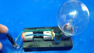 Free Energy Device Light Bulbs 220V Using Piezo Igniter With 2 Motor 2018 Project Exhibition