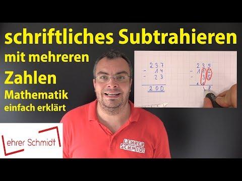 Cover: schriftliches Subtrahieren mit mehreren Zahlen - Mathematik - einfach erklärt   Lehrerschmidt - YouTube