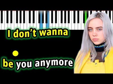 Billie Eilish - idontwannabeyouanymore  | Piano_Tutorial | Разбор | КАРАОКЕ | НОТЫ + MIDI