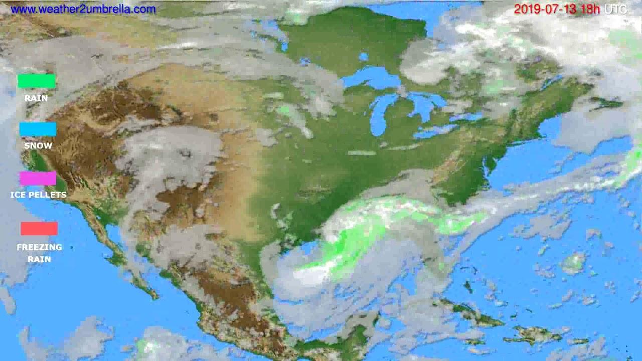 Precipitation forecast USA & Canada // modelrun: 00h UTC 2019-07-11