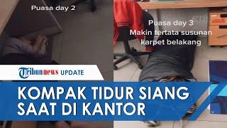 Kompak, Karyawan Tidur di Jam Istirahat Kerja, di Lantai dan Kolongan Meja hingga Pakai Sleeping Bag