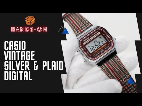 CASIO VINTAGE DIGITAL WATCH IN SILVER AND PLAID A168WEFL-5A