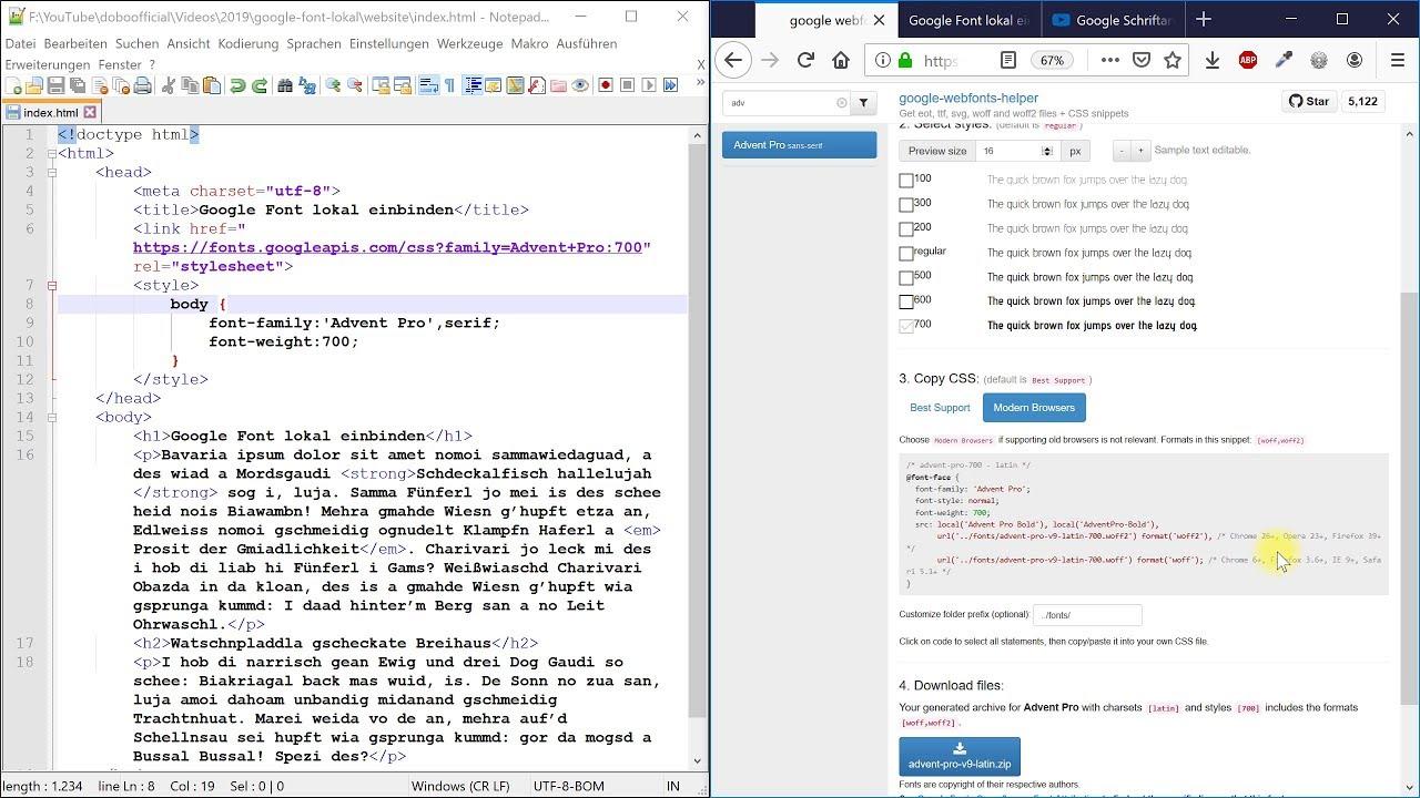 Google Fonts datenschutzkonform einbinden (DSGVO für Websites) – Webdesign-Tutorial