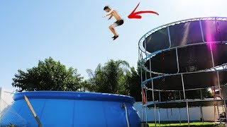 4 Story Trampoline Tower PARKOURSE!! (Parkour Challenge In Our Water Park)