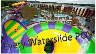 Kalahari Waterpark All Slides (HD POV) Wisconsin Dells, WI
