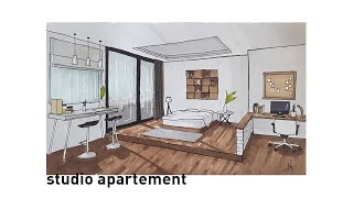 Studio Apartement Interior | Design Sketch