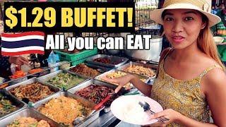 $1.29 BUFFET - ALL YOU CAN EAT THAI STREET FOOD In BANGKOK THAILAND!