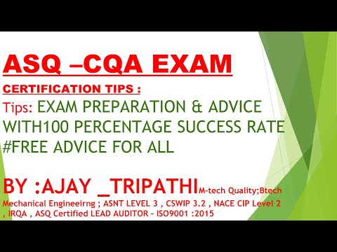 How to prepare ASQ CQA EXAM Tips    by AJAY    - YouTube