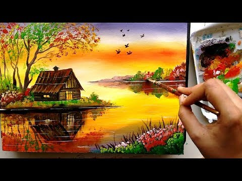 acrylic painting tutorial  beautiful riverside scenery painting by ruchika