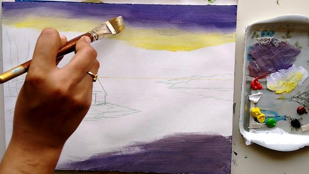 acrylic painting riverside scenary tutorials by ruchika