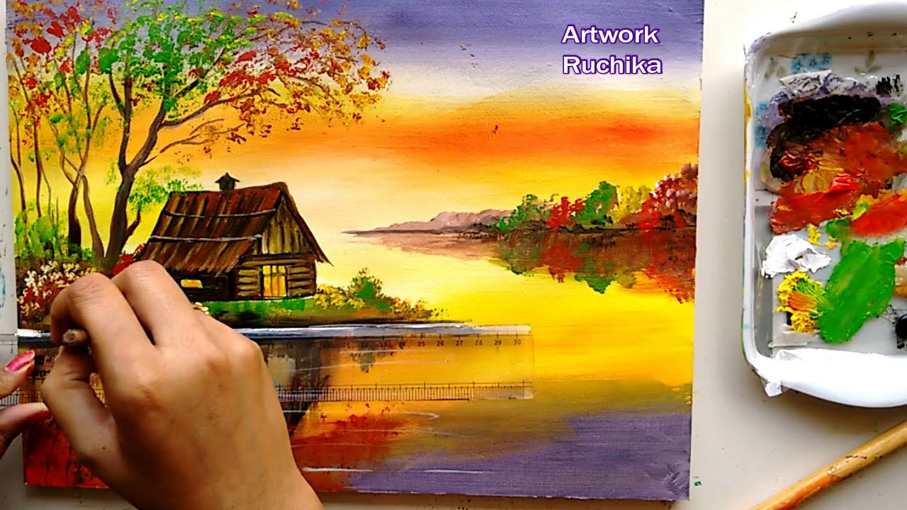 acrylic painting riverside scenary tutorials by ruchika