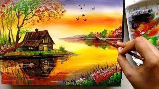 Beautiful Riverside Scenery Painting   Acrylic Painting Tutorial