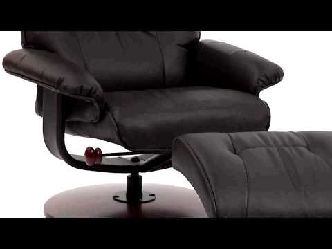 Video for Black Bonded Leather Recliner and Ottoman