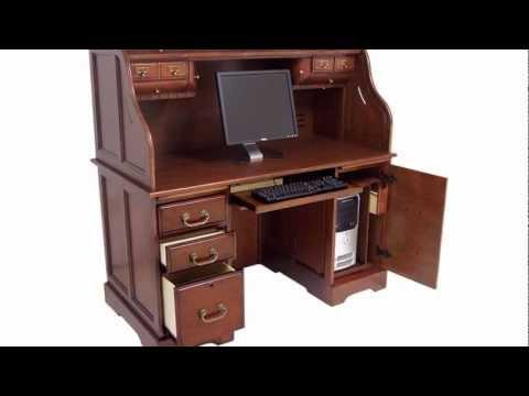 Oak or Cherry Roll Top Computer Desk