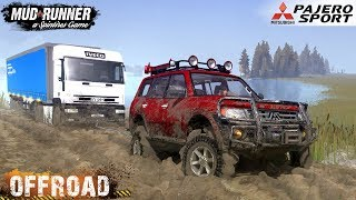 Spintires: MudRunner - MITSUBISHI PAJERO SPORT Towing Semi Truck on Dirt and Off-road