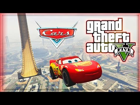 Lightning McQueen Vs VERTICAL RAMP! (GTA 5 Mods Funny Moments) - Disney Cars In GTA 5