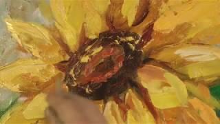 Смотреть онлайн Как рисовать с мастихином подсолнухи маслом