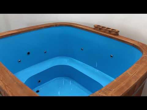 Badebottich Hot Tube Badefass mit Aussenofen und Whirlpool System
