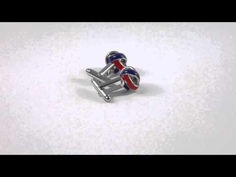 Manschettenknopf Knoten rot-blau