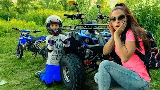 Funny Den ride on Cross Bike and help Mom fix broken down Quad Bike for kids