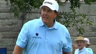 Phil Mickelson holes a 46-foot chip shot for birdie at FedEx St. Jude