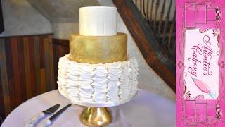 Super Ruffled Gold Wedding Cake