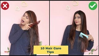 10 HAIR CARE HACKS For Healthy, Shiny & Long Hair | Hair Care Tips in HINDI