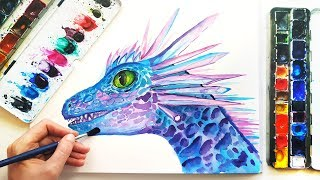 Watercolor Dragon Speedpaint - Fantasy Illustration Painting Demonstration
