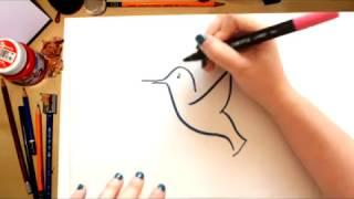 Como desenhar um Beija-flor - desenhos para crianças