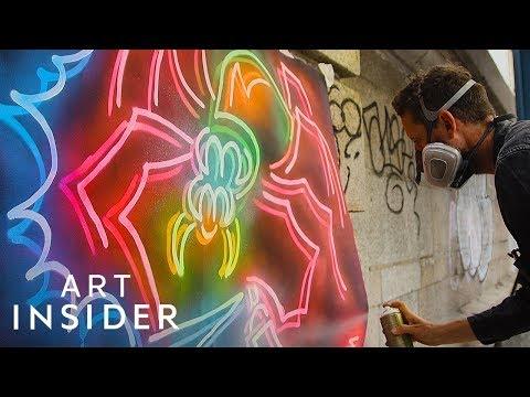 Spray Painting Fake Neon Lights