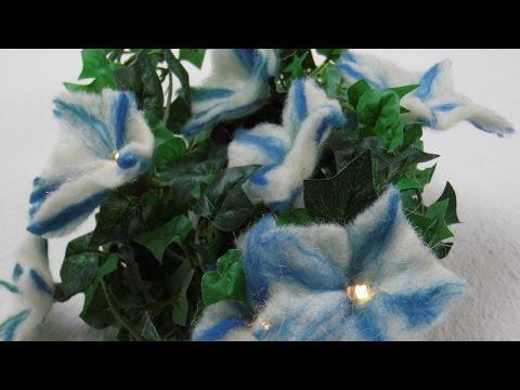 Filzanleitung fürs Nassfilzen / Blumen basteln mit LED Lichterkette