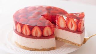いちごのレアチーズケーキの作り方 No-Bake Strawberry Cheesecake*Eggless & Without oven|HidaMari Cooking