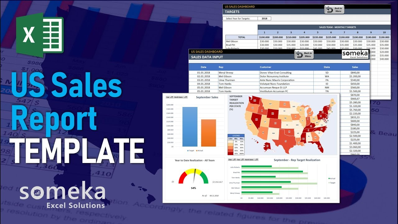 US Sales Report Template - Someka Excel Template Video