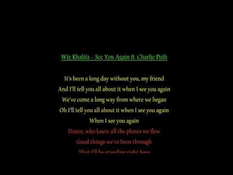 Wiz Khalifa - See You Again Ft  Charlie Puth Lyrics