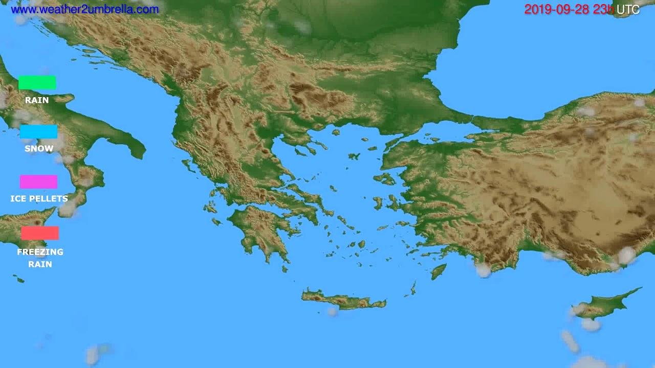 Precipitation forecast Greece // modelrun: 12h UTC 2019-09-25