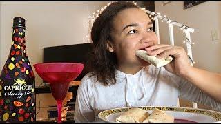 TIPSY MUKBANG   CHEESEBURGER BURRITOS 🌯  (big bites)