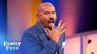 Steve Harvey loves Marie-Claire's FINGER LICKIN' routine! | Family Feud