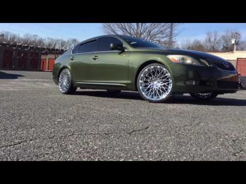 """Lexus GS450 riding out on 20"""" Rosso Skism Chrome wheels wrapped up in 225/35-20 Lionhart tires."""