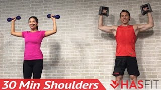 30 Min Home Shoulder Workout Routine for Women & Men with Dumbbells - Deltoid & Shoulders Exercises by HASfit