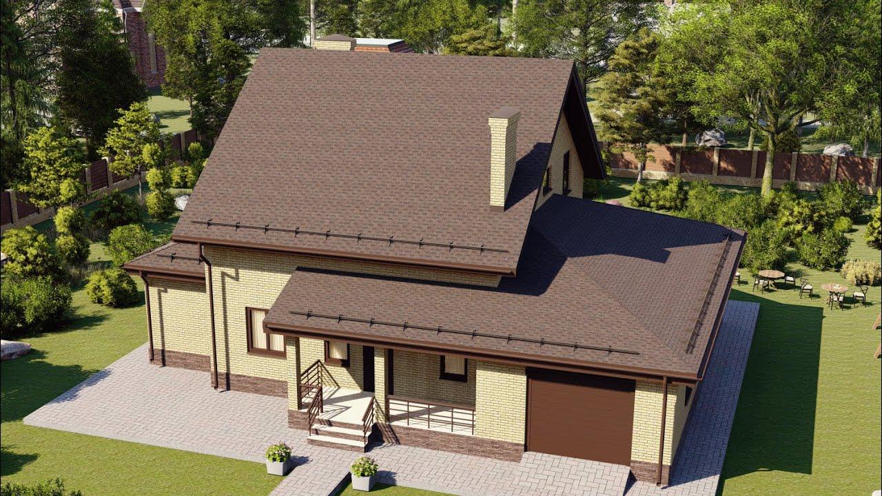 Проекты кирпичных домов с гаражом, от 200 метров