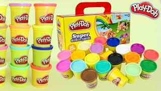 Learn Color, Count, & Unboxing Play Doh Super Color Pack, 20 Colors!!! Modeling Clay
