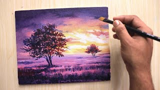 Acrylic Painting Of A Beautiful Night Sky And Tree Step By Step