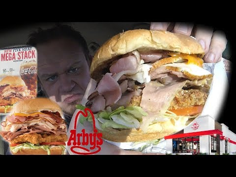 Arby's NEW! ☆FIVE MEAT MEGA STACK☆ MEAT MOUNTAIN Jr! Food Review!!!