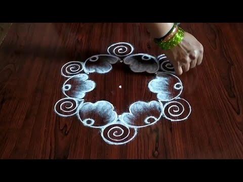 daily rangoli kolam designs with 3 dots by sresta rangoli
