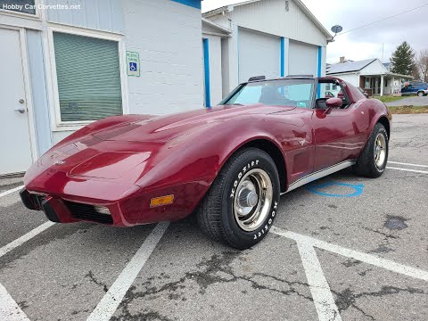 1977 Dark Red Corvette Black int For Sale Video